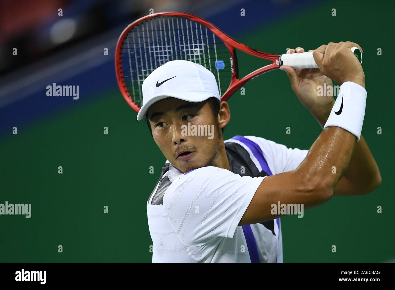 Chinese professional tennis player Zhang Ze competes against Spanish professional tennis player Pablo Carreno Busta during the first round of 2019 Rol Stock Photo