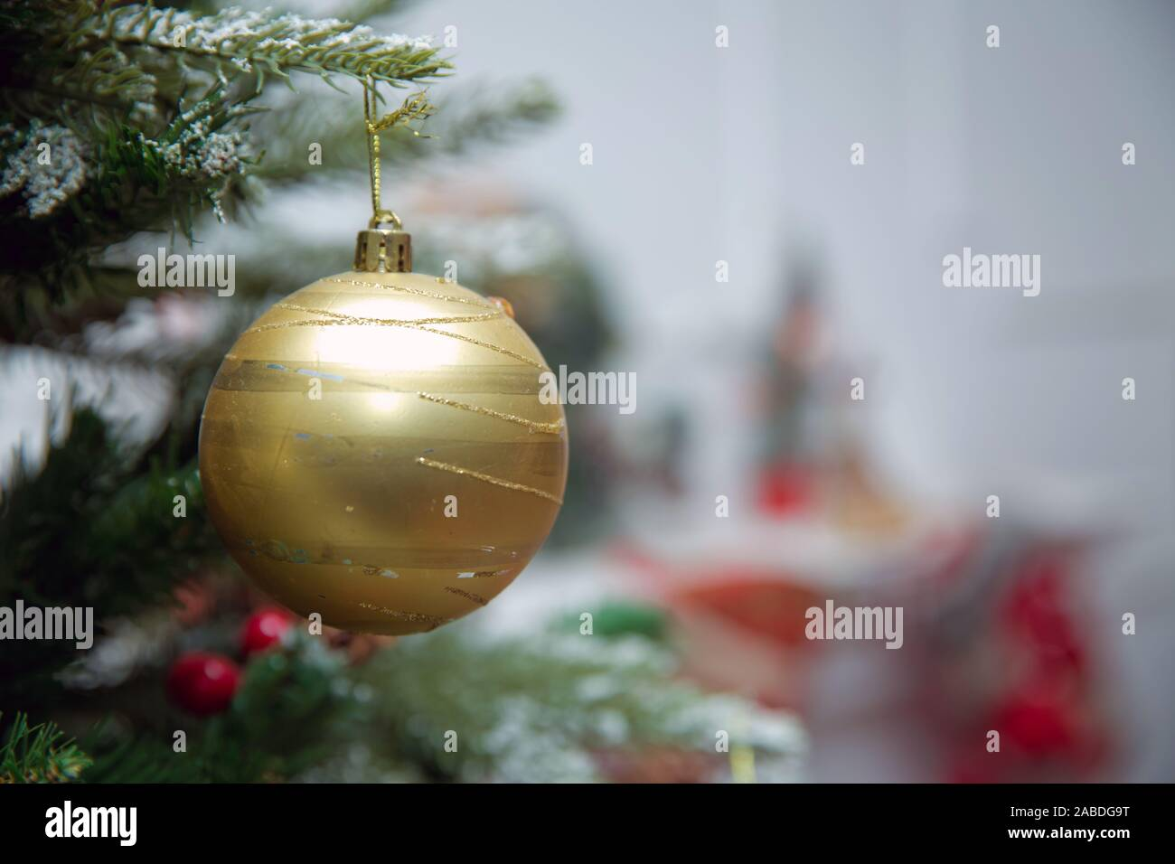 Branches Christmas Gold Ball New Year Background Decorations Christmas White Tree Green Nature Christmas Gold Ball Christmas Ball Hanging Star Stock Photo Alamy