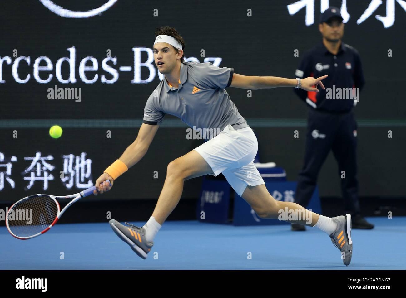 Chinese professional tennis player Zhang Zhizhen competes against Austrian professional tennis player Dominic Thiem at the second round of 2019 China Stock Photo