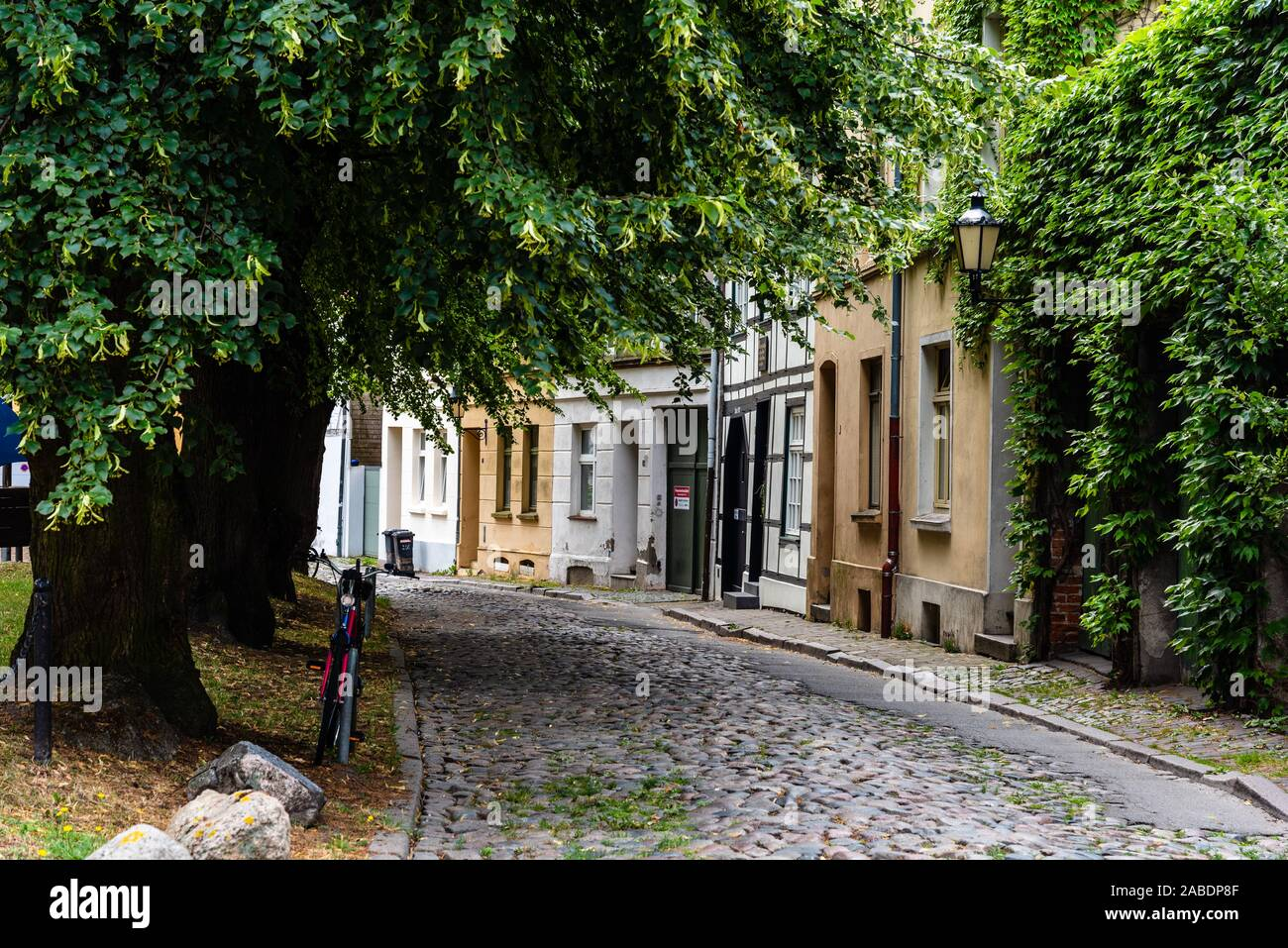 Wismar, Germany - August 2, 2019: Street view of the old city centre of Wismar in Germany Stock Photo