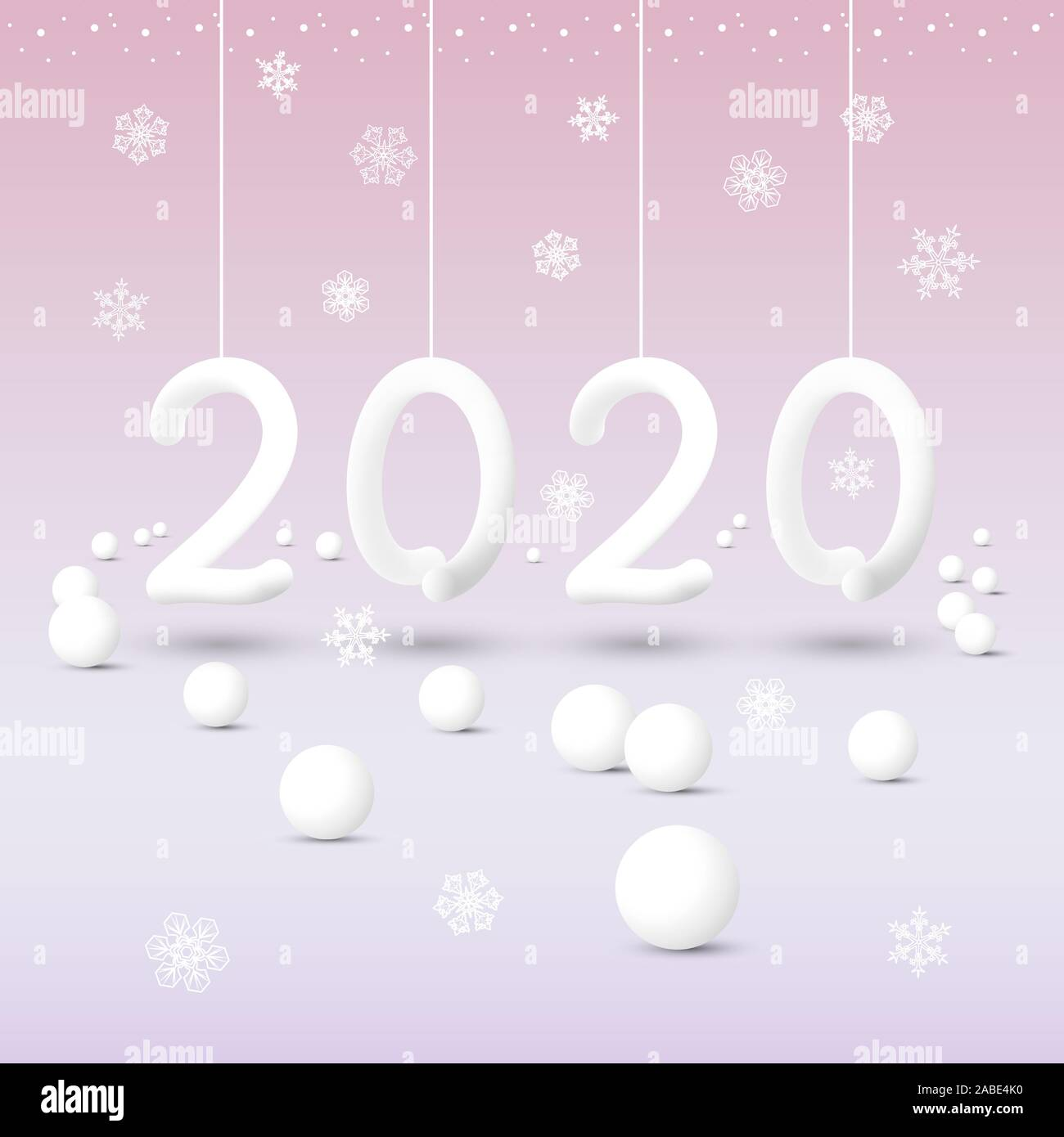 New Year 2020 abstract white numbers hanging on ribbons with snowflakes on a pink background with a gradient Stock Vector