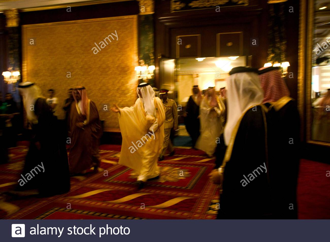 Prince Khalid Al Faisal, governor of Makkah province, along with dignitaries at the FIKR conference 2007 in Manama, Bahrain. Stock Photo
