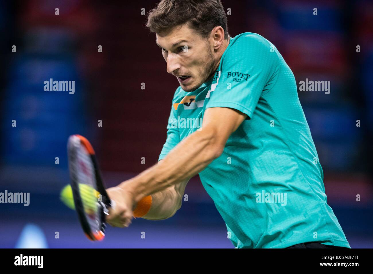Spanish professional tennis player Pablo Carreno Busta competes against Chinese professional tennis player Zhang Ze during the first round of 2019 Rol Stock Photo