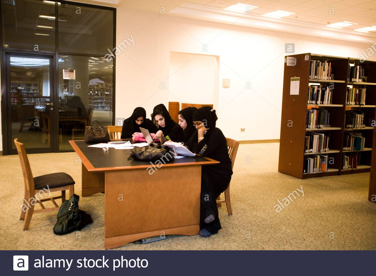 Students Inside The Library At The American University Of Sharjah Sharjah Uae Stock Photo Alamy