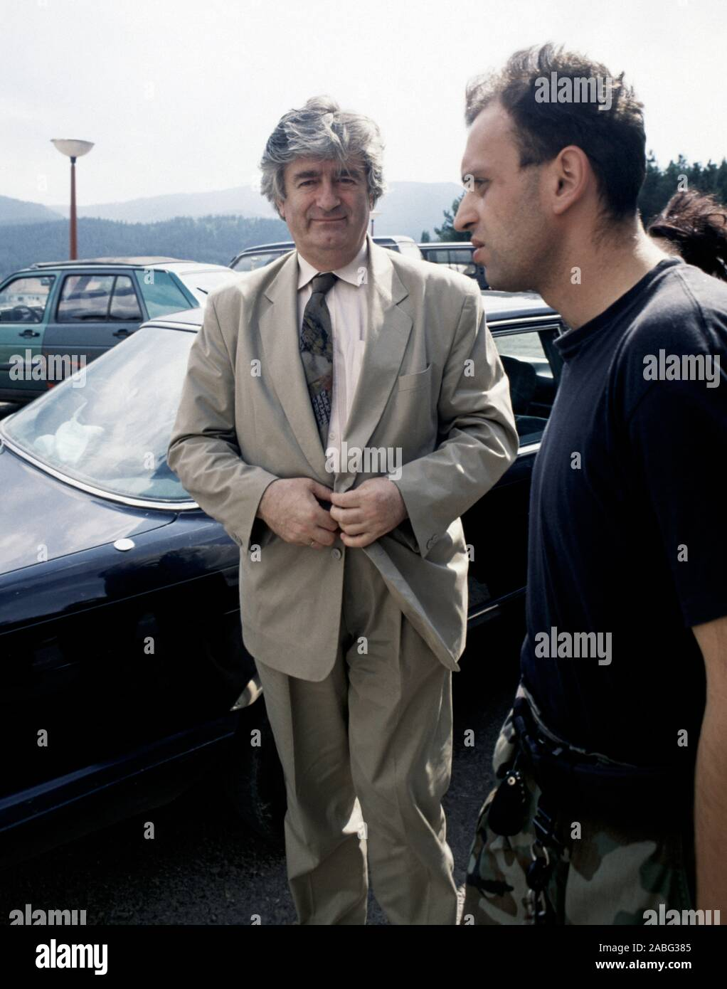 8th August 1993 During the war in Bosnia: the Bosnian Serb leader, Dr. Radovan Karadžić, arriving at the Serb Democratic Party headquarters in the Hotel Panorama in Pale. Stock Photo