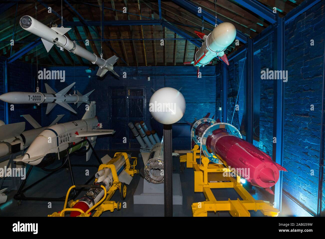 Arrangement display exhibition of vintage missiles at the Explosion Museum of Naval Firepower; the Royal Navy's former armaments depot of Priddy's Hard, in Gosport. UK (105) Stock Photo