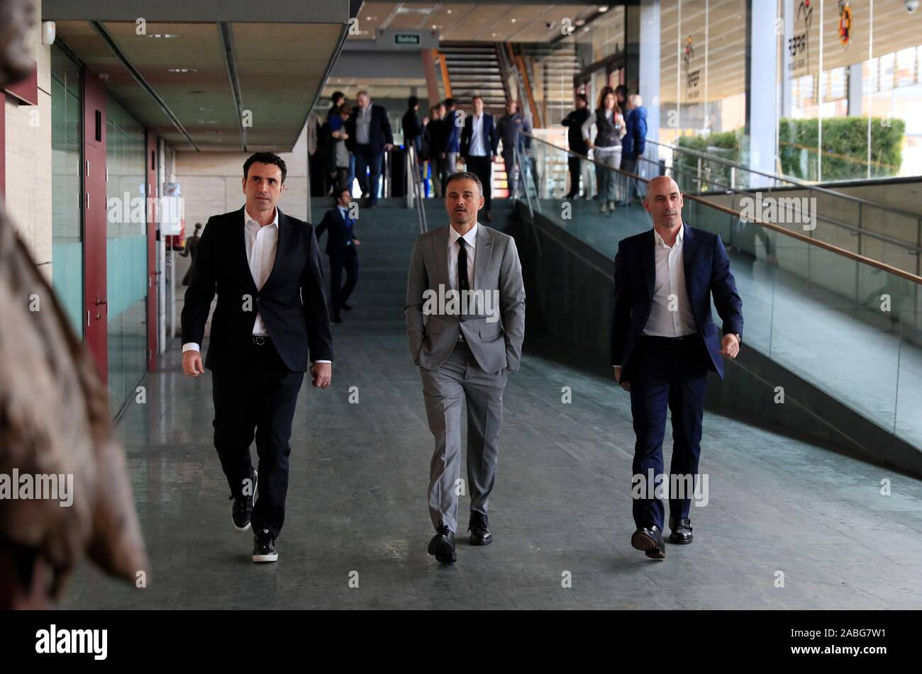 (L-R) Spanish Royal Soccer Federation (RFEF) sports director Francisco Molina, Spanish national soccer team's head coach, Luis Enrique, and President of the Spanish Royal Soccer Federation (RFEF), Luis Rubiales, arrive for Luis Enrique's presentation press conference at the Sports City of Las Rozas in Madrid, Spain, 27 November 2019. Luis Enrique returns as head coach five months after he left the job due to personal reasons, period during which he was replaced by his former assistant Robert Moreno. EFE/ Ballesteros Stock Photo