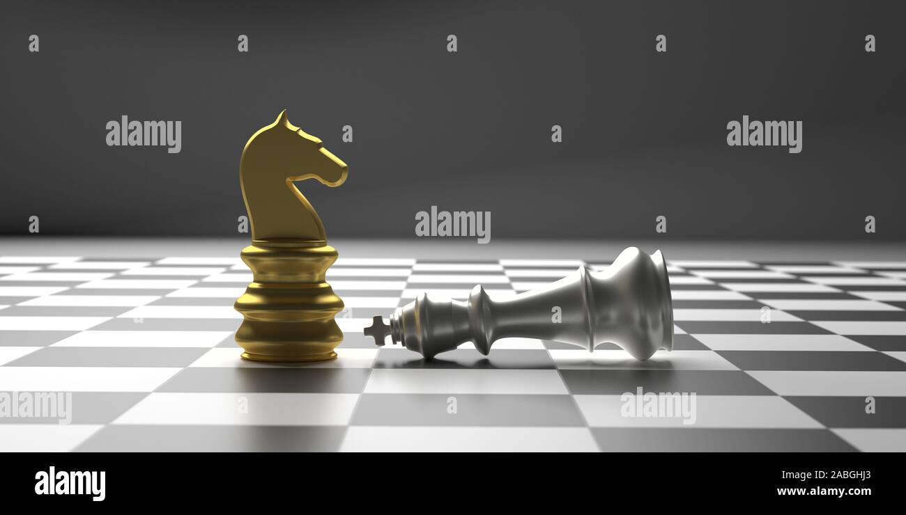Winner Chess Knight Checkmate Concept Chess Horse Gold Standing Silver King Down Chessboard Background 3d Illustration Stock Photo Alamy