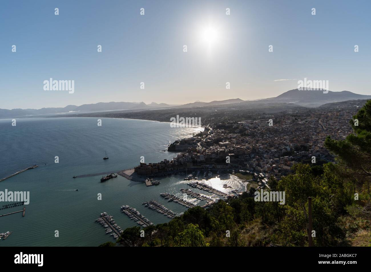 View of a port and sicilian town Stock Photo