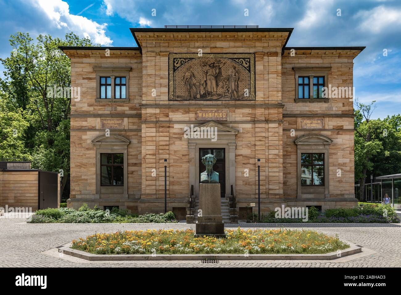 Exterior view of the Wahnfried, villa of the famous musician, composer Wilhelm Richard Wagner, with the status of Ludwig II in front, king of Bavaria, Stock Photo