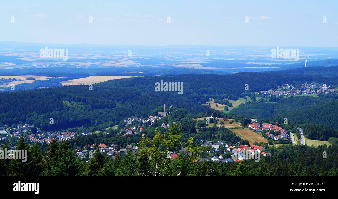The village Schmitten in Hessen with the castle Reifenberg view from the Großer Feldberg Stock Photo