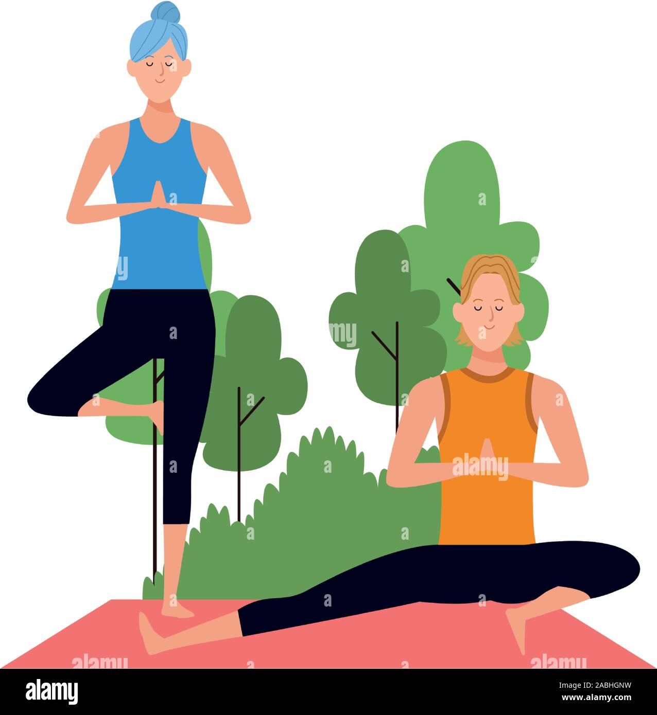 Cartoon Man And Woman Doing Yoga Poses At Outdoors Stock Vector Image Art Alamy