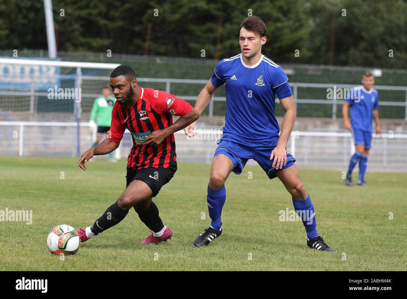 Gary Bowes of Saffron Walden and Sam Dickens of Redbridge during Redbridge vs Saffron Walden Town, Essex Senior League Football at Oakside Stadium on Stock Photo