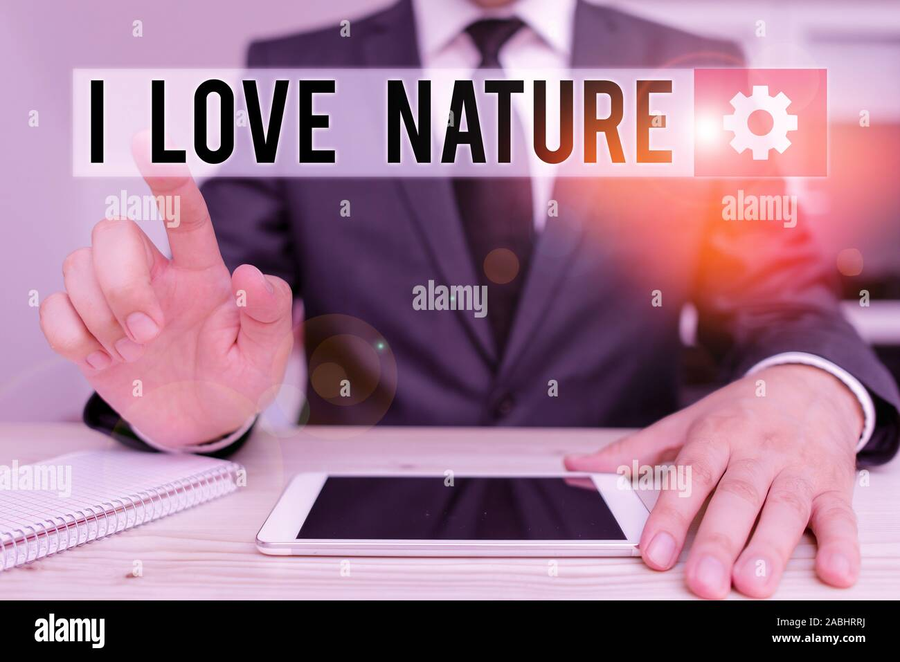 Word writing text I Love Nature. Business photo showcasing Enjoy the natural environment Preservation Protect ecosystem Male human wear formal clothes Stock Photo