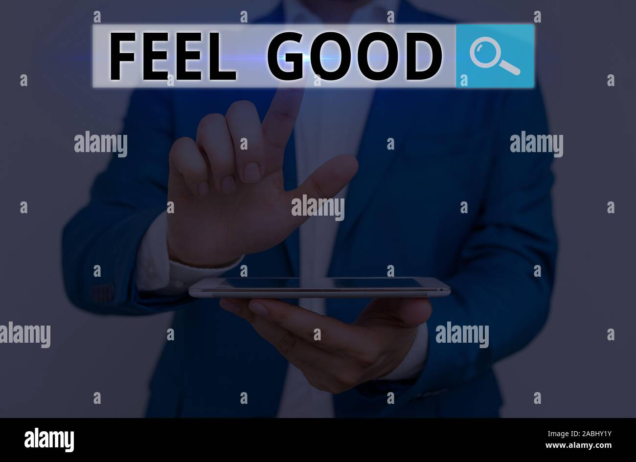 Conceptual hand writing showing Feel Good. Concept meaning relating to or promoting an often specious sense of satisfaction Stock Photo