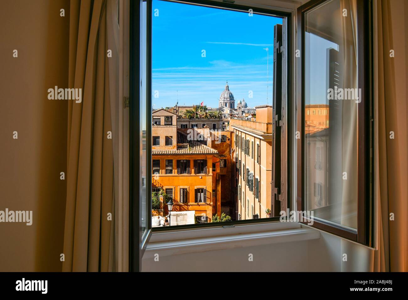 View from window of the dome of the Basilica of SS Ambrose and Charles Church on the Corso in Rome, Italy. Stock Photo