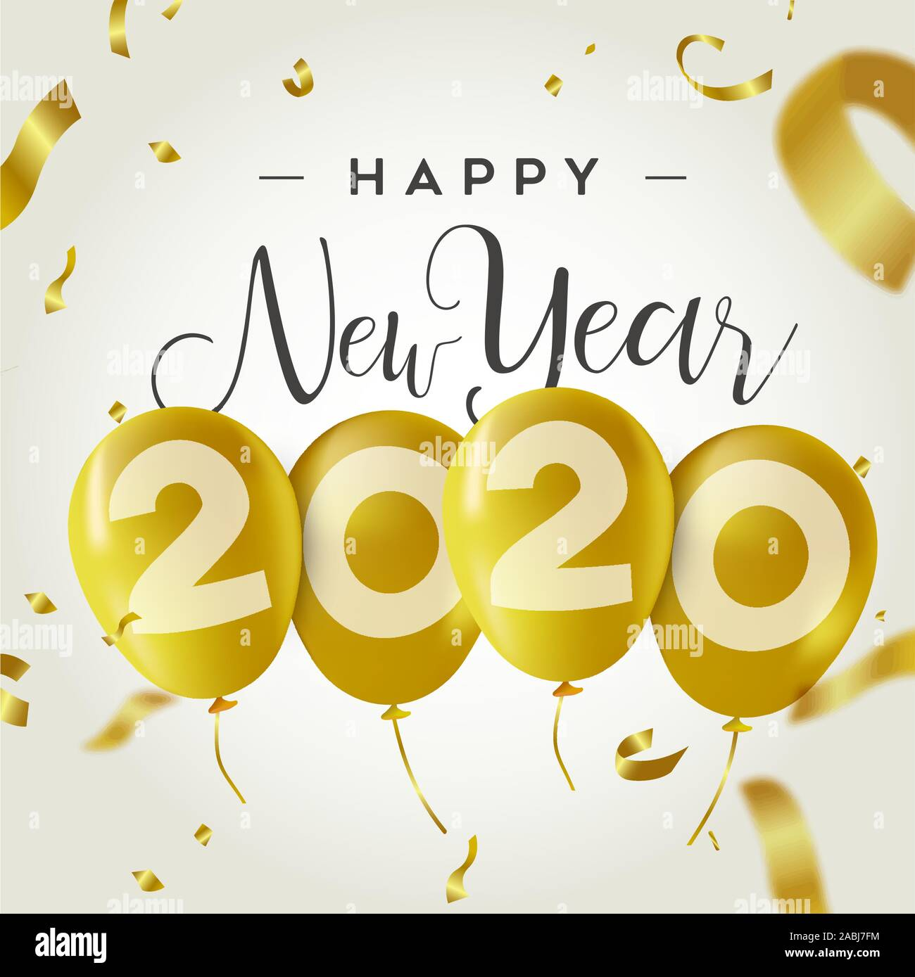 Happy New Year 2020 Greeting Card Illustration Of Dynamic