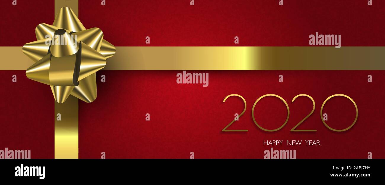 2020 Christmas Gift Box Happy New Year 2020 banner illustration of red christmas gift box