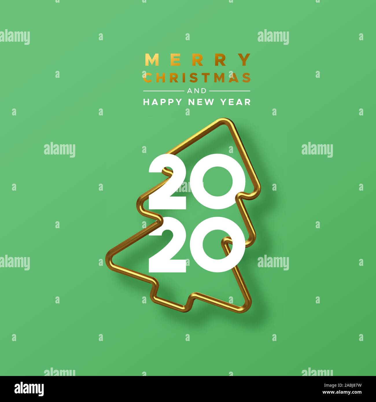 Christmas Card Mailing Dates 2020 Merry Christmas Happy New Year 2020 greeting card of realistic 3d