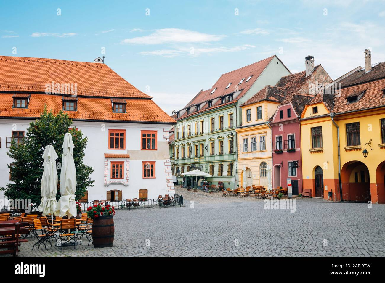 Sighisoara old town Fortress square in Romania Stock Photo