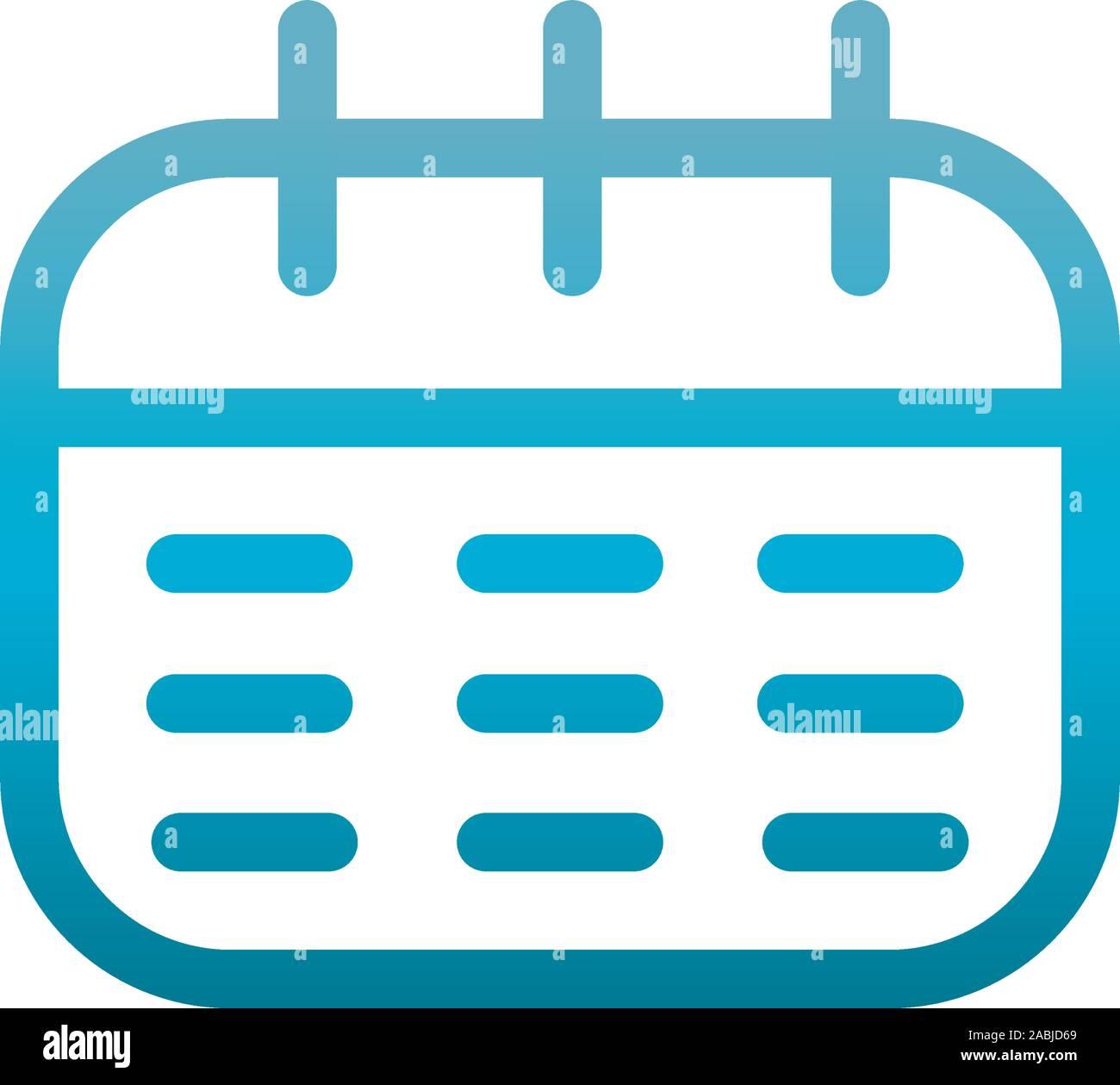 calendar plan user interface blue gradient vector illustration Stock Vector