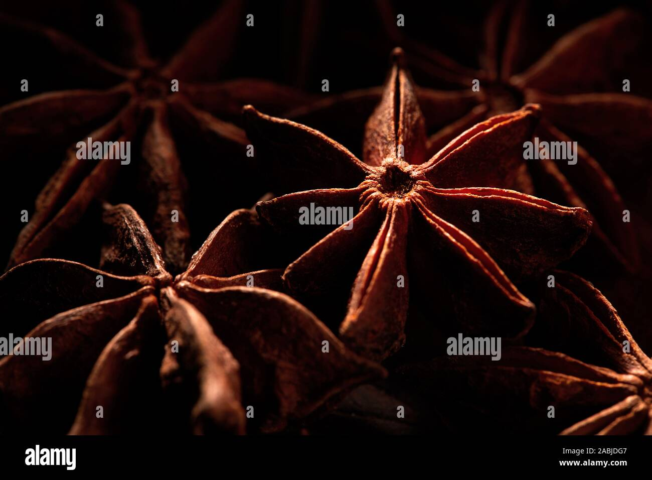 Macro shot of Badyan star anise spice at the market in India Stock Photo