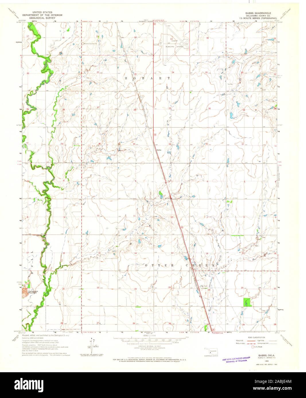 USGS TOPO Map Oklahoma OK Babbs 705379 1963 24000 ...