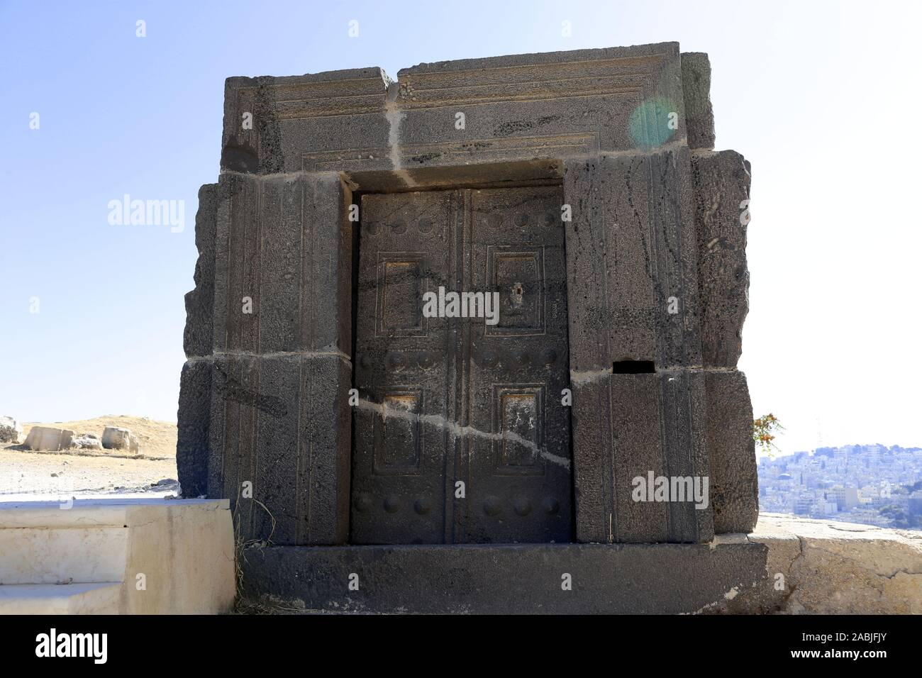 Basalt carved doorway, Sculpture Gardens, Jordan Archaeological Museum, Citadel, Ali Ben Al Hussein Street, Jabal Al Qalah, Amman, Jordan, Middle East Stock Photo