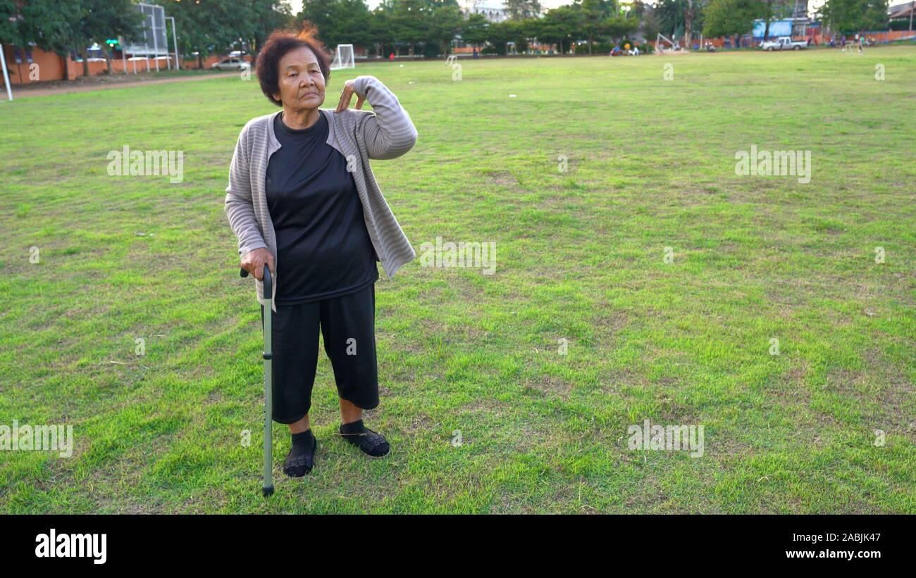 senior woman exercise in the park Stock Photo