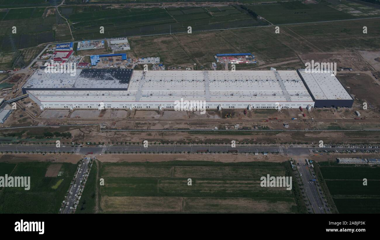 Shanghai. 23rd July, 2019. Aerial photo taken on July 23, 2019 shows Tesla's gigafactory in east China's Shanghai. Credit: Ding Ting/Xinhua/Alamy Live News Stock Photo