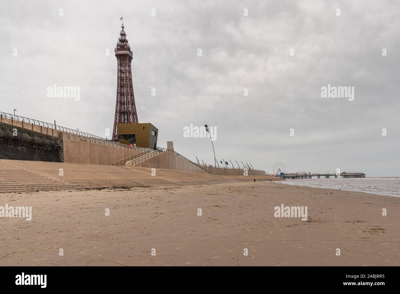 Blackpool, England, UK - April 28, 2019: View from the beach towards Blackpool Tower and the Central Pier Stock Photo