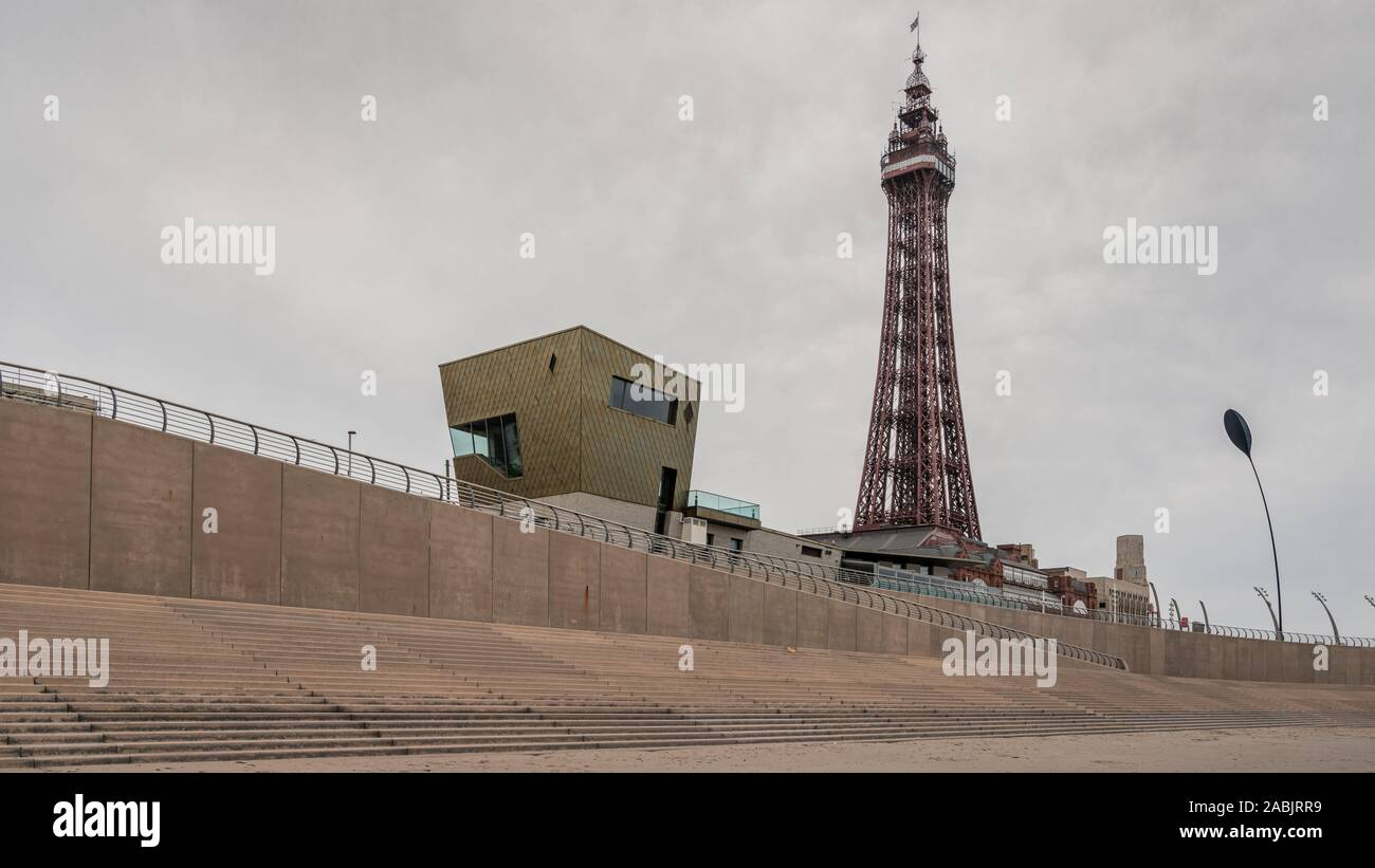 Blackpool, England, UK - April 28, 2019: View from the beach towards Blackpool Tower Stock Photo