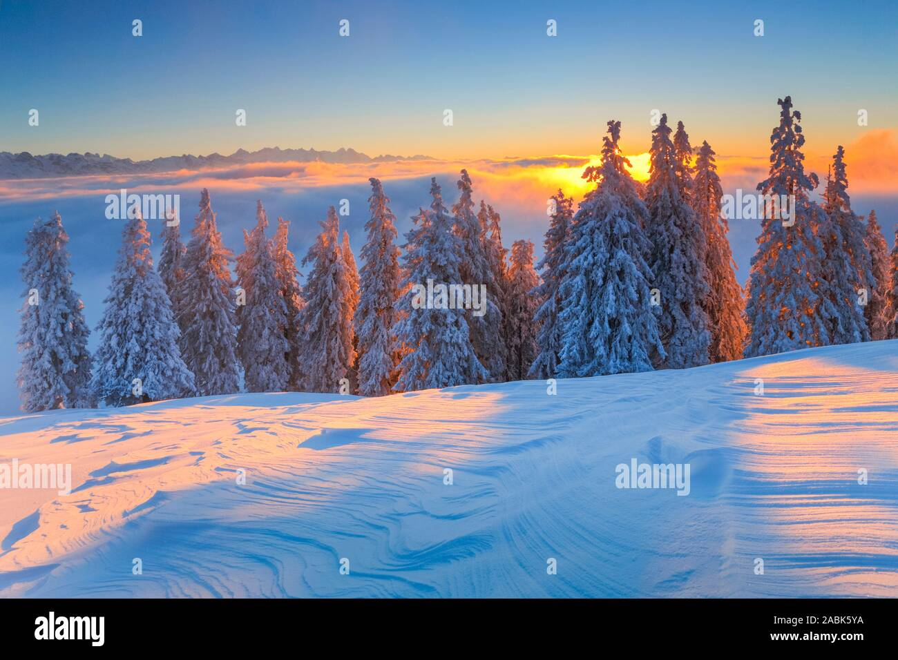 View from the Rigi to the Bernese Alps and the Pilatus in winter, evening light. Schwyz, Switzerland.. Stock Photo