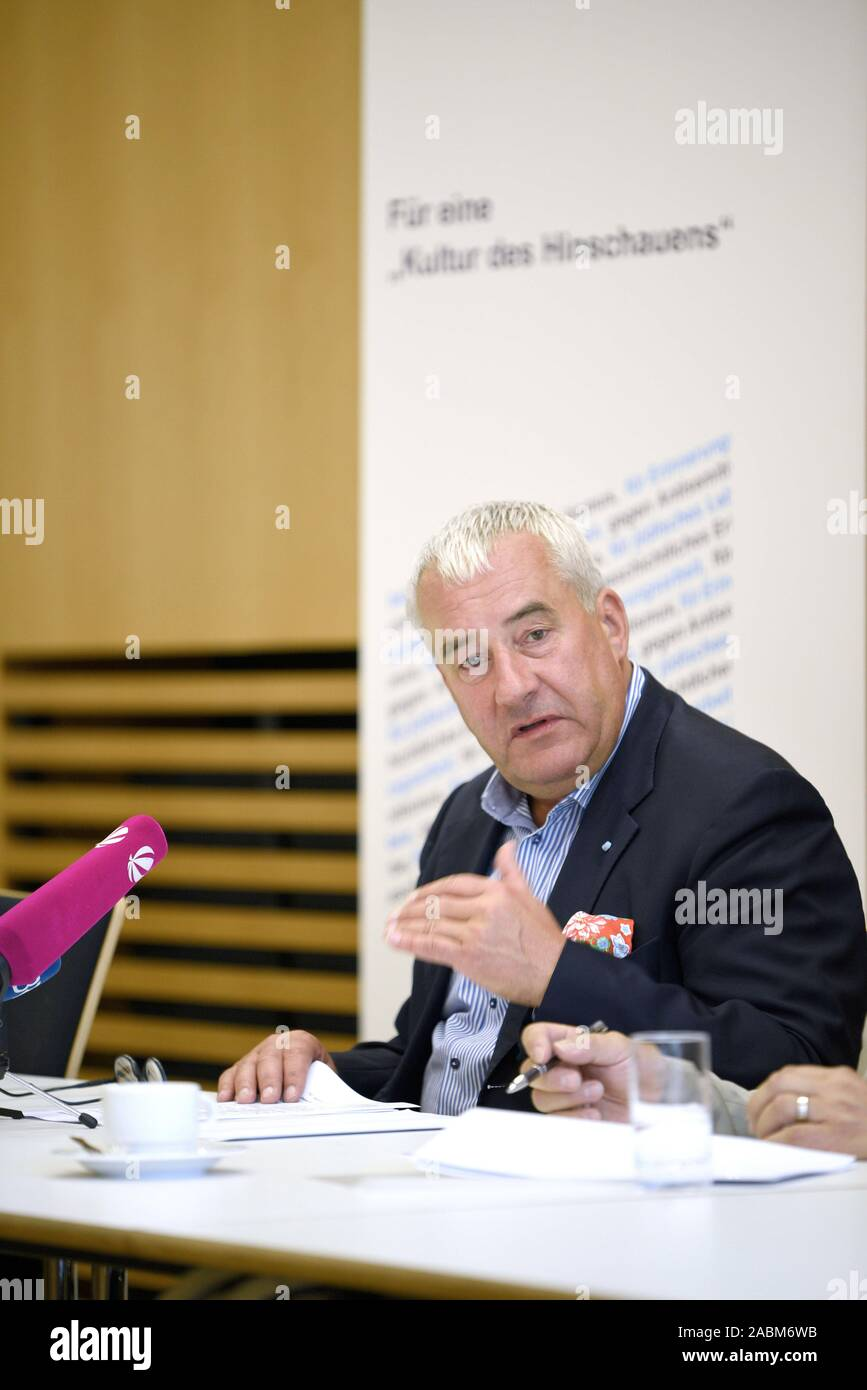 Dr. Ludwig Spaenle (CSU), Anti-Semitism Commissioner of the Bavarian State Government, warns of anti-Semitism at a press conference in the Bavarian Ministry of Culture and calls for civil courage. [automated translation] Stock Photo