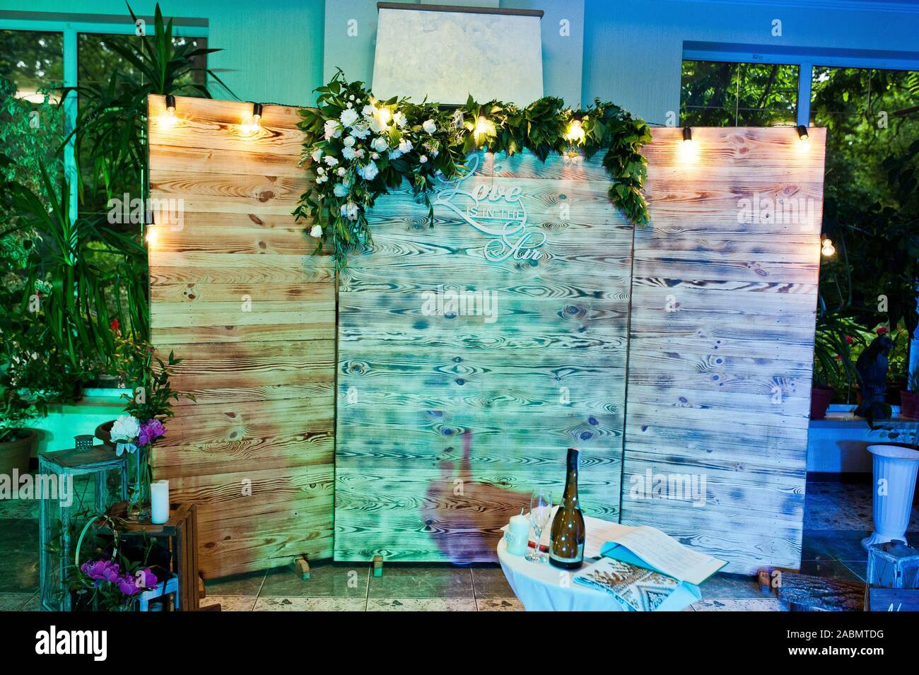 Beautiful Wedding Set Decoration In The Restaurant Rustic Wooden Photo Zone Stock Photo Alamy