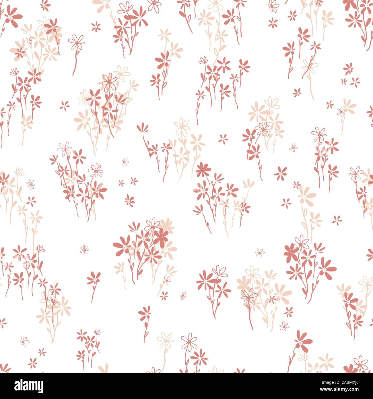 Hand Drawn Ditsy Flower Field Seamless Pattern Cute Floral