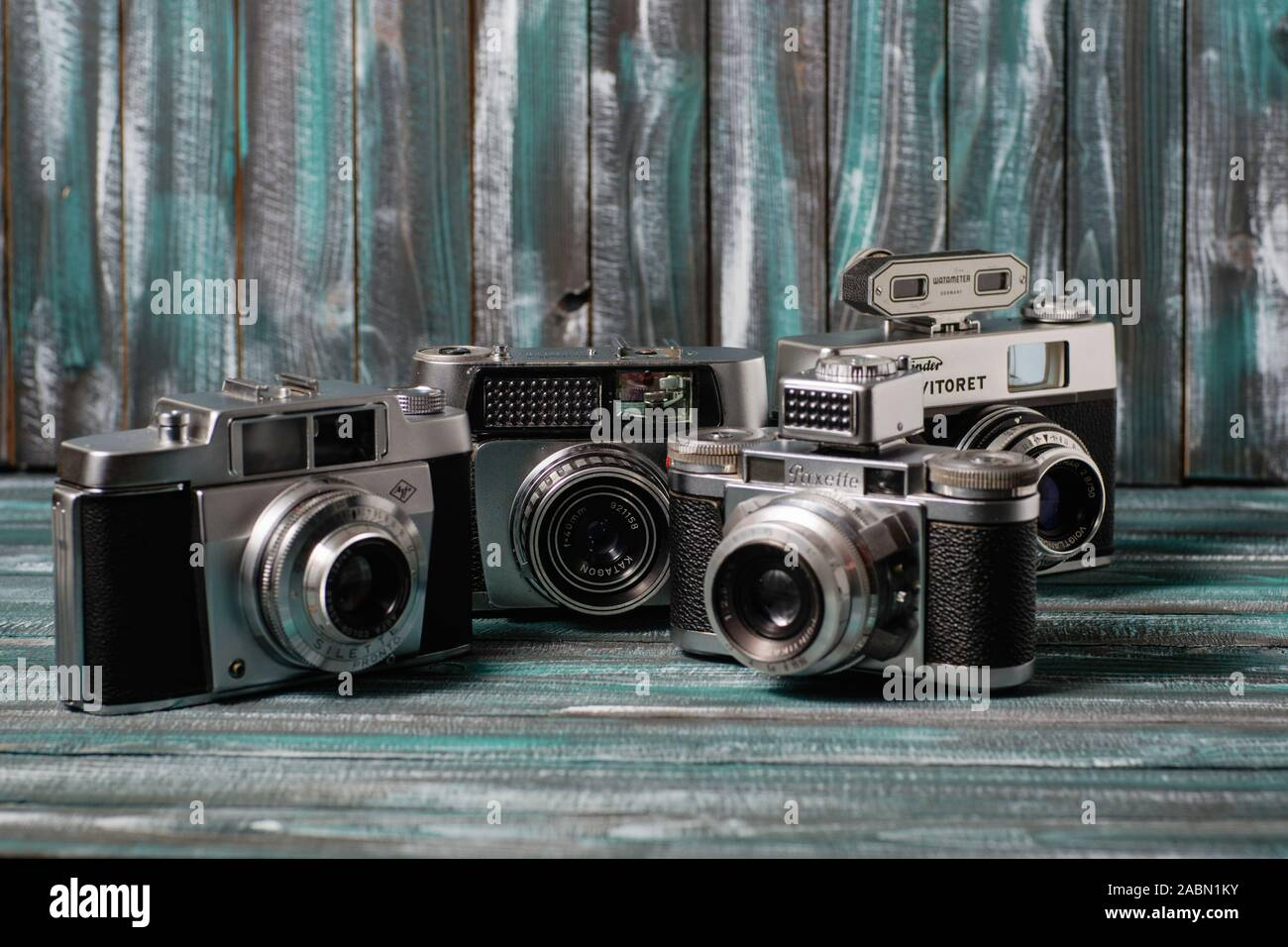 A collection of old film cameras Stock Photo