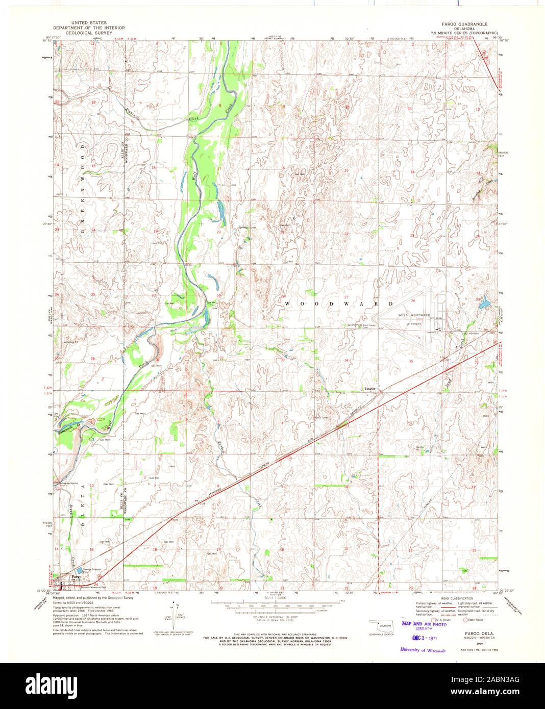 USGS TOPO Map Oklahoma OK Fargo 705843 1969 24000 ...