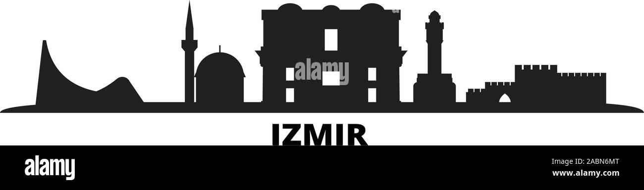 Turkey Izmir City Skyline Isolated Vector Illustration Turkey Izmir Travel Black Cityscape Stock Vector Image Art Alamy