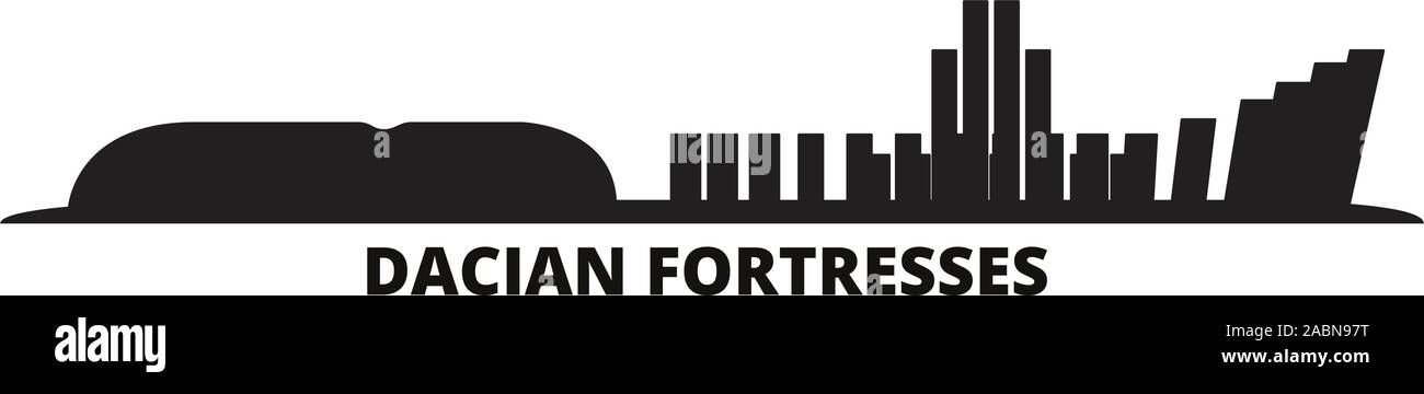 Romania, Dacian Fortresses, Orastie Mountains city skyline isolated vector illustration. Romania, Dacian Fortresses, Orastie Mountains travel cityscap Stock Vector