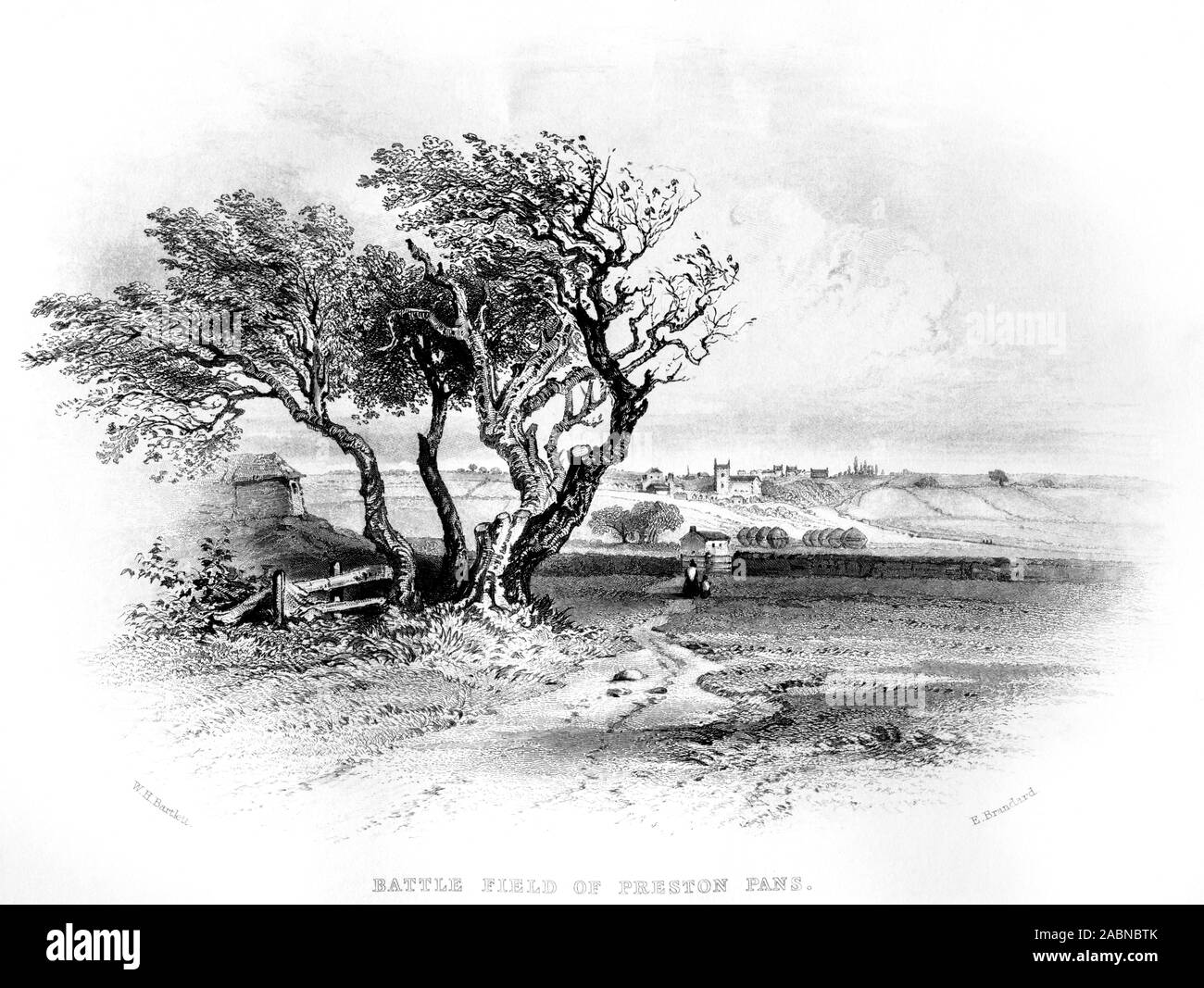 An engraving of the Battle Field of Preston Pans (Prestonpans) looking towards Tranent scanned at high resolution from a book printed in 1859. Stock Photo