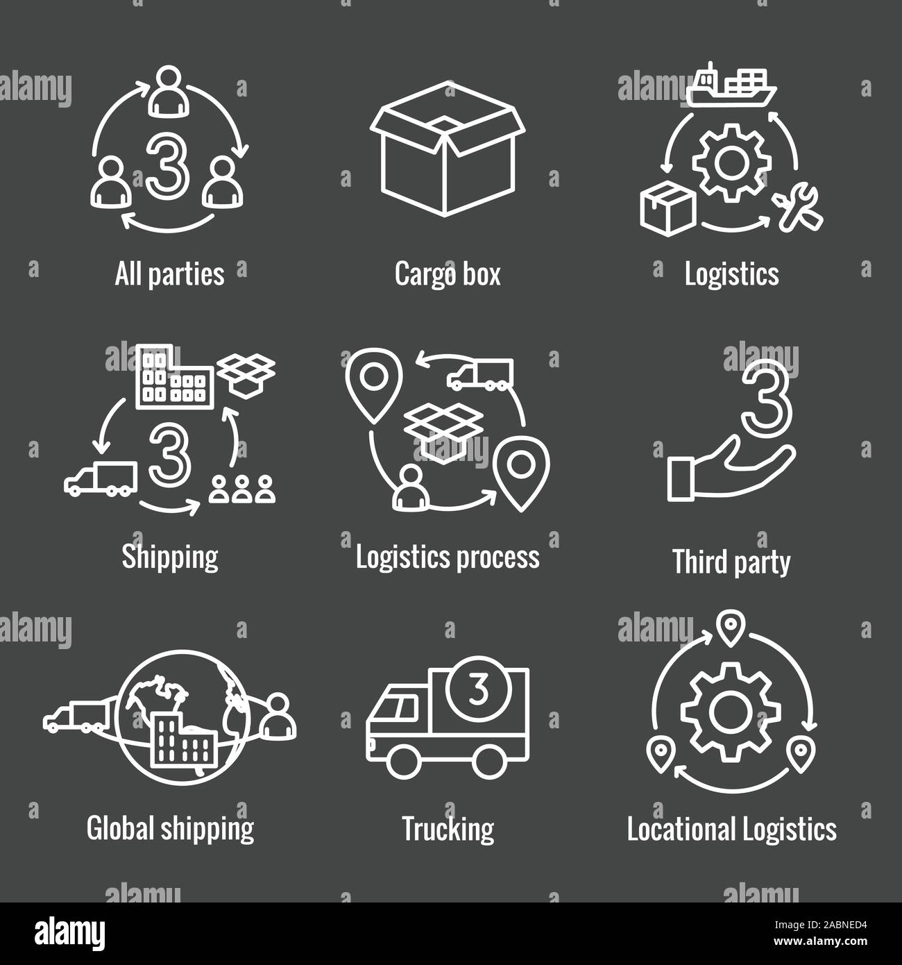 Logistics icon set w buildings, trucking, people and shipping box Stock Vector