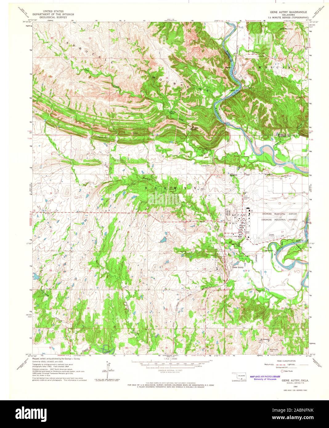 USGS TOPO Map Oklahoma OK Gene Autry 705923 1964 24000 ...