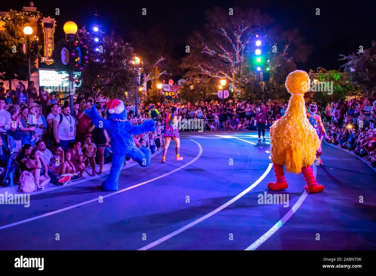 Grover Christmas Parade 2020 Orlando, Florida . November 23, 2019. Grover and Big Bird Sesame