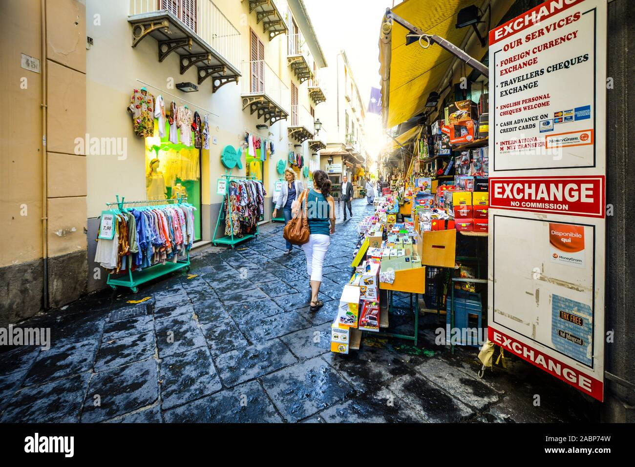 Tourist souvenir shopping in a back alley in the resort town of Sorrento Italy on the Amalfi Coast Stock Photo