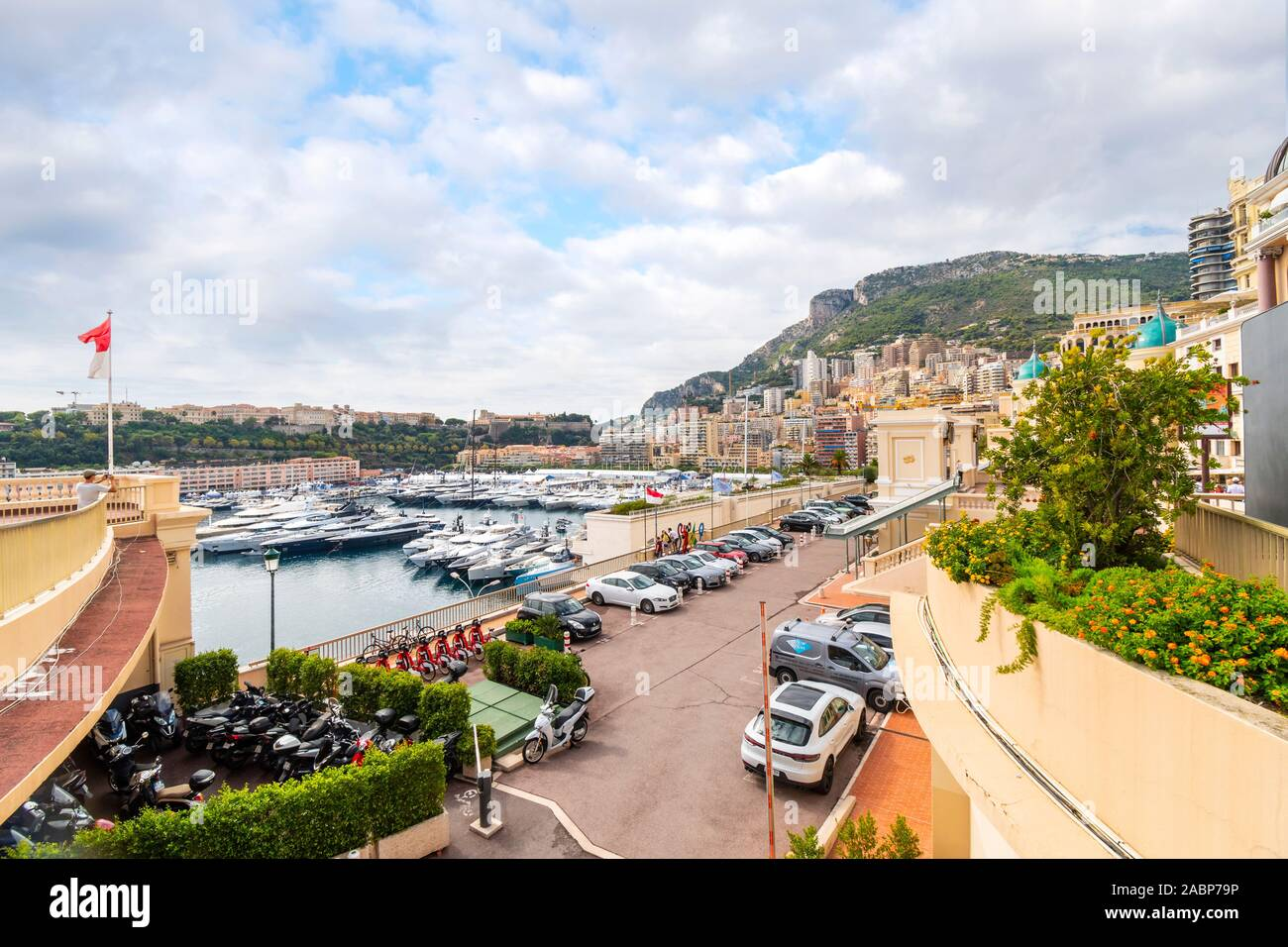 Yachts are moored in one of the smaller marinas in the Fontvieille area of Monte Carlo, Monaco. Stock Photo