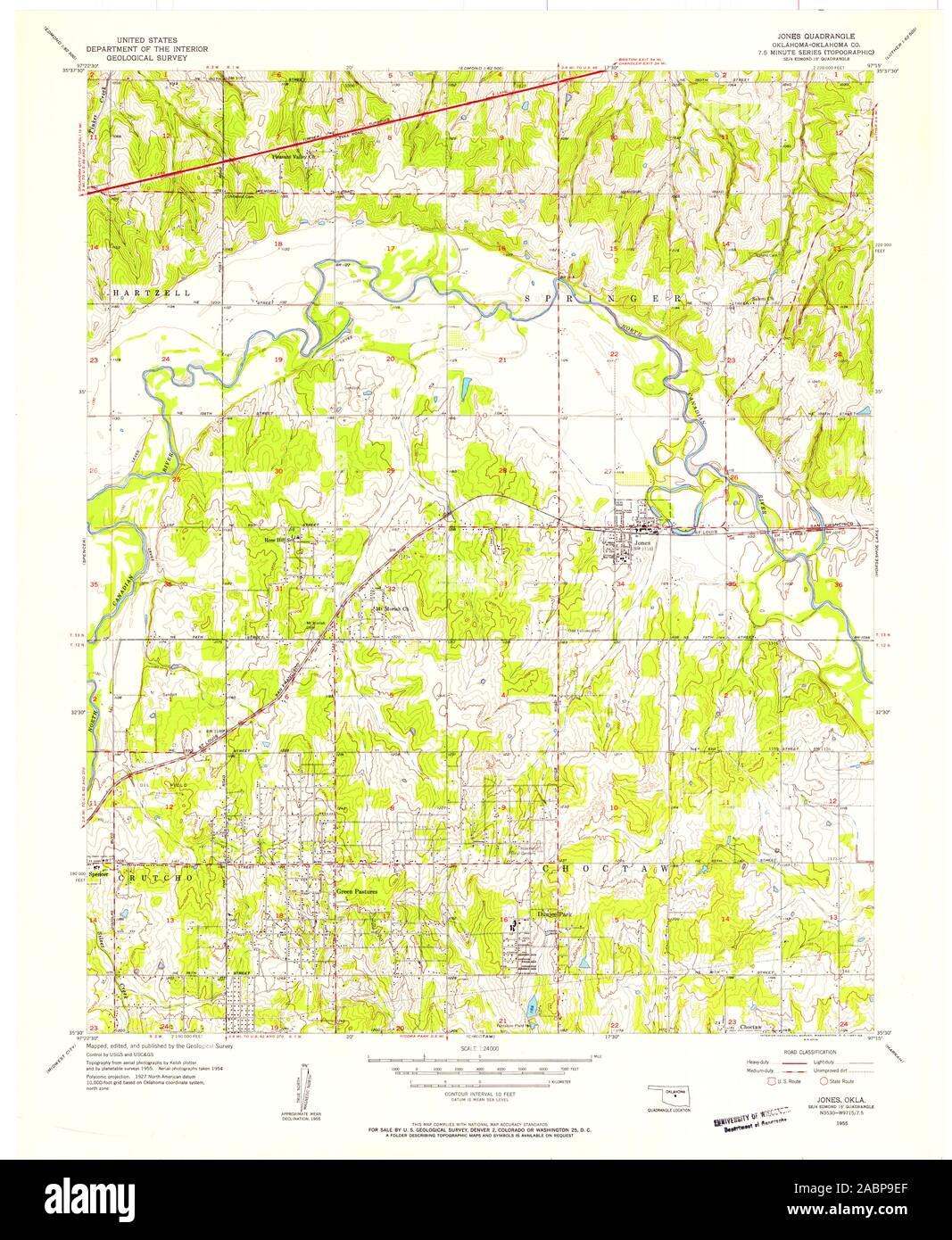 USGS TOPO Map Oklahoma OK Jones 706122 1955 24000 ...