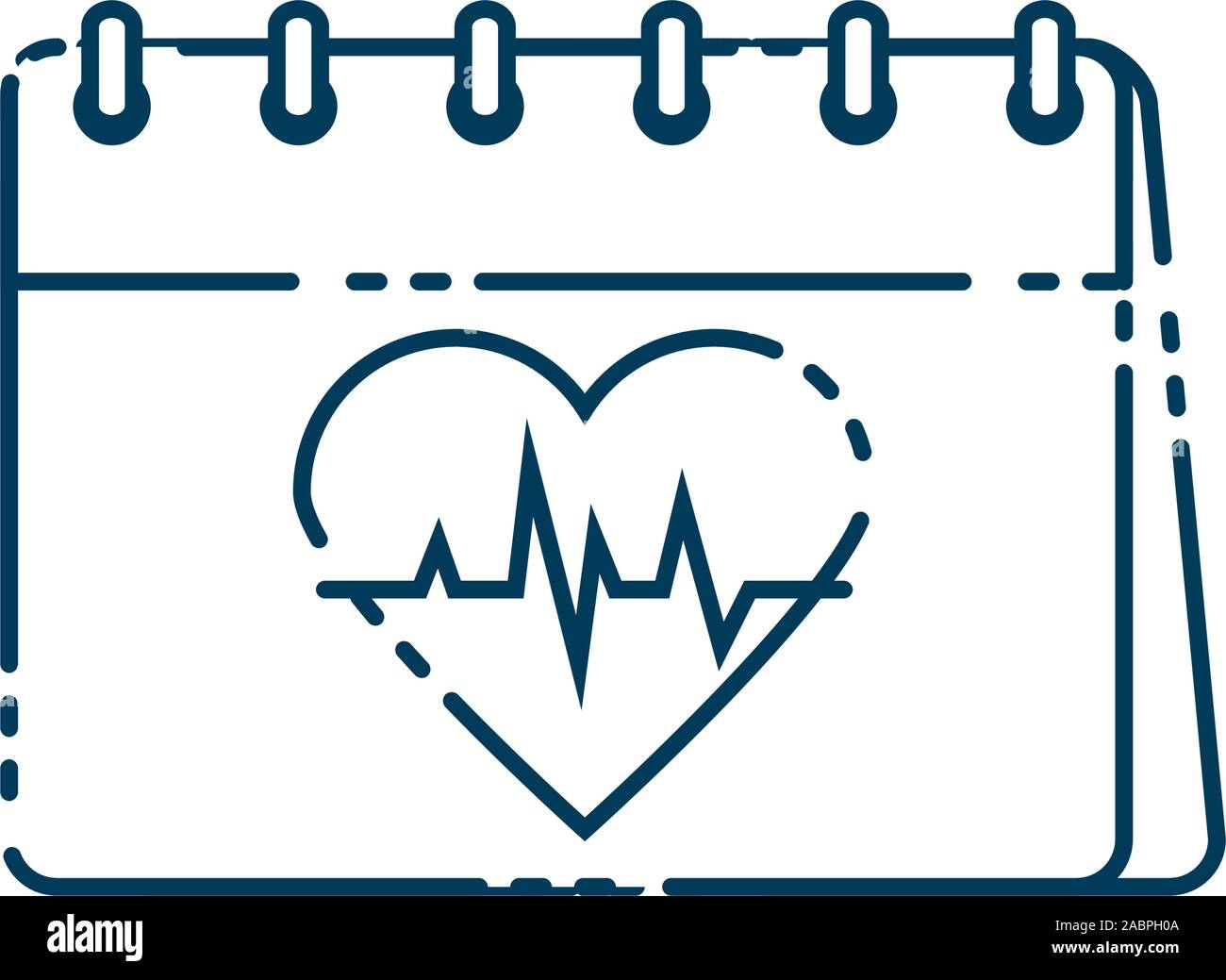 calendar with heart cardio flat style icon vector illustration design Stock Vector