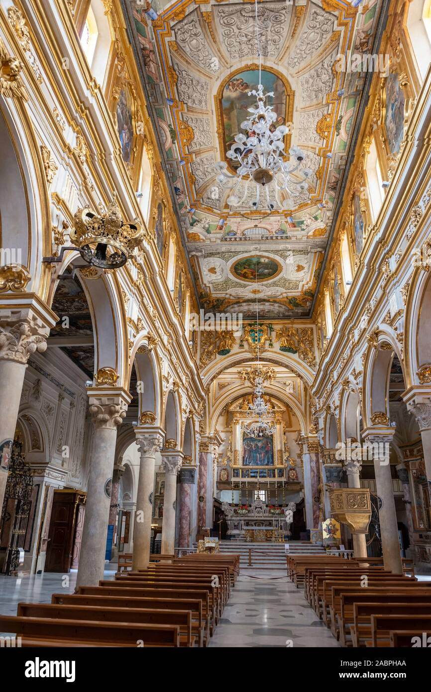 Interior of Matera Cathedral (La Cattedrale di Matera) on Piazza Duomo in Sassi District of Matera, Basilicata Region, Southern Italy Stock Photo