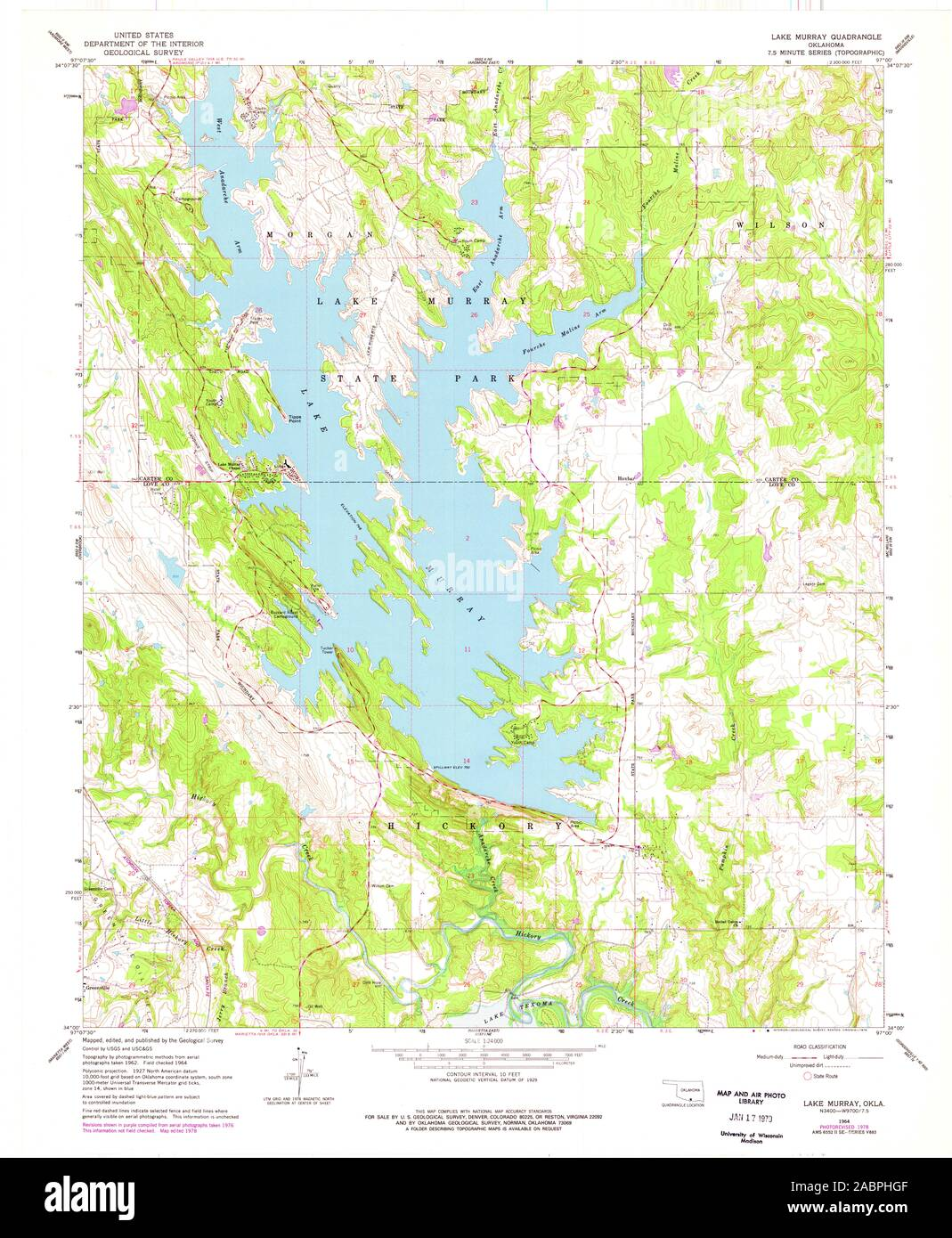 lake murray topographic map Usgs Topo Map Oklahoma Ok Lake Murray 706198 1964 24000 Restoration Stock Photo Alamy lake murray topographic map